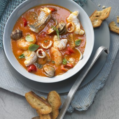 Caciucco (Tuscan fish soup, Italy)